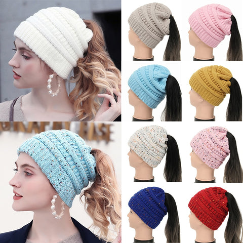 Women Ponytail Beanie Cap Winter