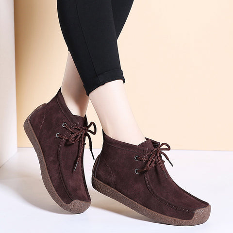 New Women Boots Leather Suede Lace-up Snow Boot