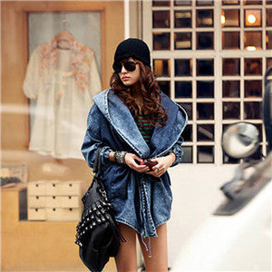 2018 Autumn Winter Women Cardigan Windbreaker Lace Up Bandage Hooded denim cloak