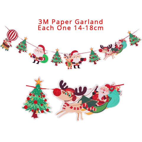 Christmas Garland Wall Hanging Banner Flags Kids Xmas Party Candy Box Christmas Decoration for Home Favors