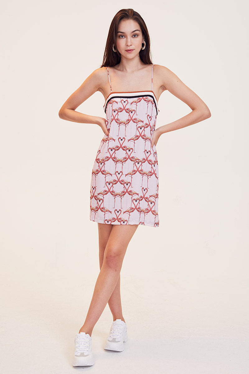 Flamingo Hearts Mini Dress