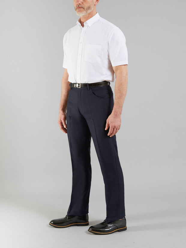Anti Stain Hopsack Trousers In Navy