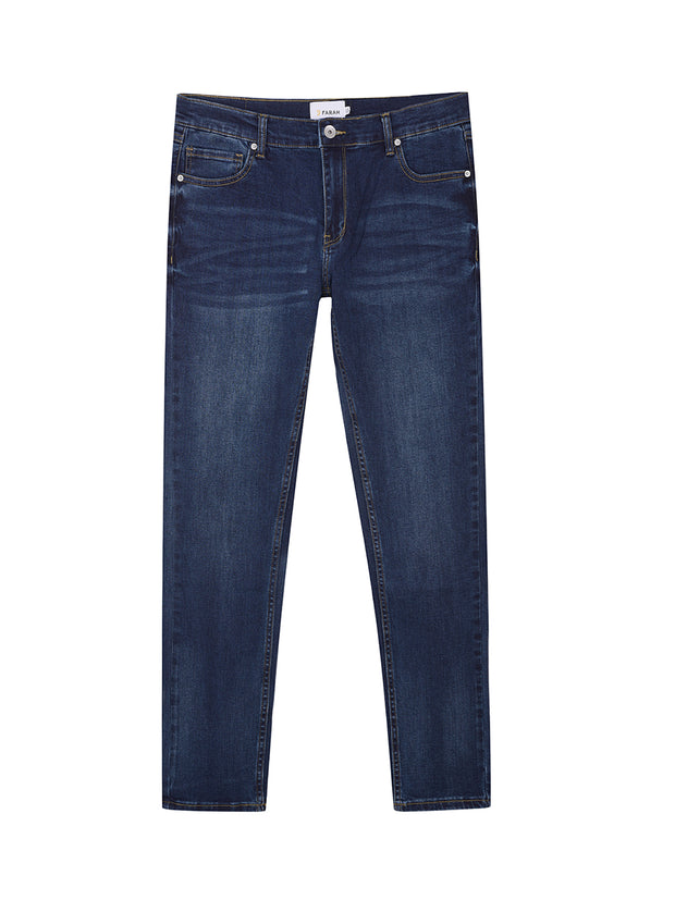 Drake Slim Fit Stretch Jeans In Mid Denim