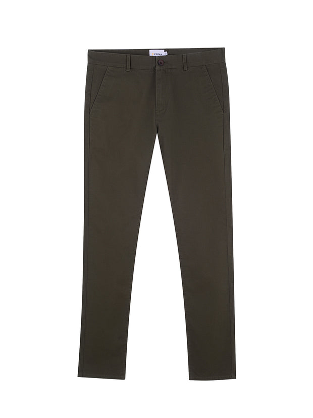 DRAKE SLIM FIT TWILL CHINOS IN FARAH GREEN