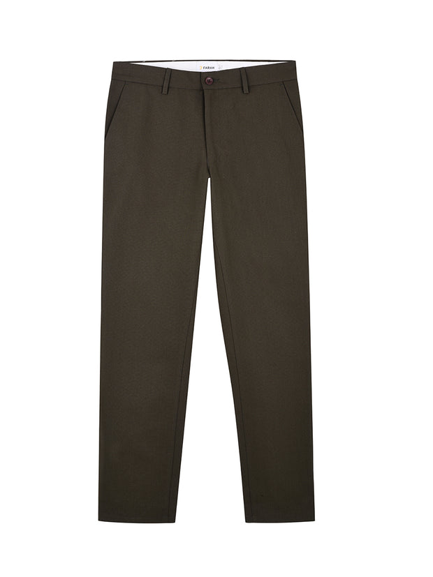 ELM REGULAR FIT COTTON HOPSACK TROUSERS IN FARAH GREEN