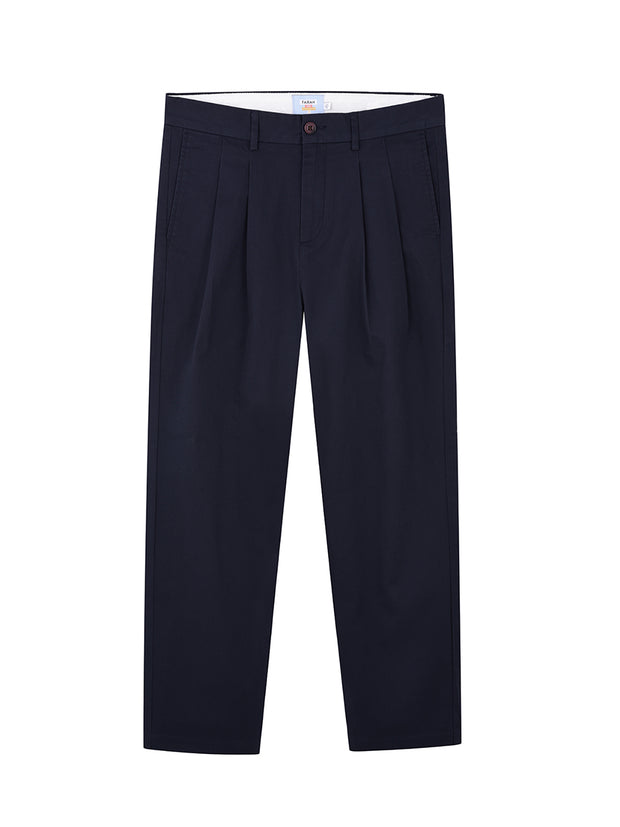 Casey Classic Fit Double Pleat Chinos In True Navy