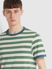 Belgrove Slim Fit Striped T-Shirt In Vine Green