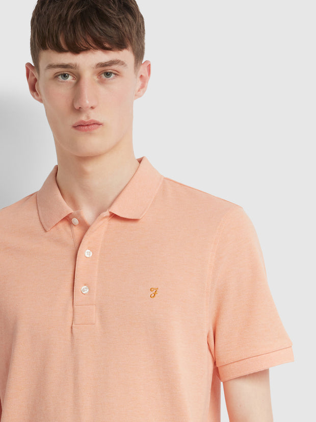 Blanes Slim Fit Polo Shirt In Apricot Marl