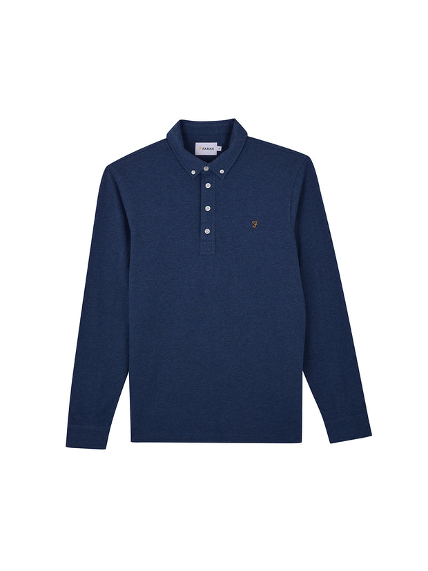Ricky Slim Fit Long Sleeve Polo Shirt In Dusky Blue Marl