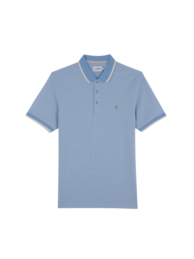 Basel Slim Fit Tipped Polo Shirt In Moonstone