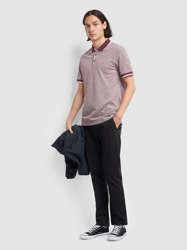 BASEL SLIM FIT TIPPED POLO SHIRT IN FARAH RASPBERRY