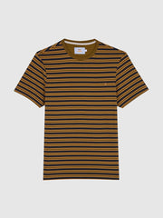 India Slim Fit Striped T-Shirt In Olive Brown
