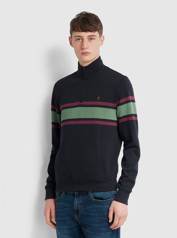 Love Cotton Striped Quarter Zip Sweatshirt In True Navy