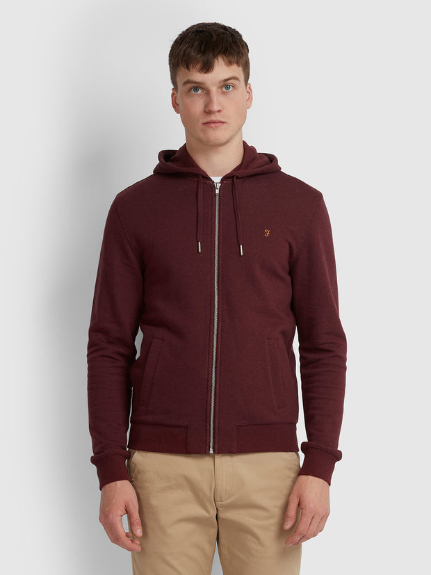 KYLE COTTON ZIP THROUGH HOODIE IN FARAH RED MARL