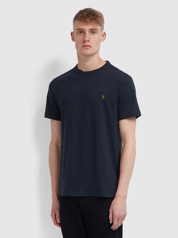 Danny Slim Fit Organic Cotton T-Shirt In True Navy