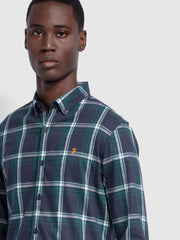 Steen Slim Fit Brushed Cotton Check Shirt In True Blue Marl
