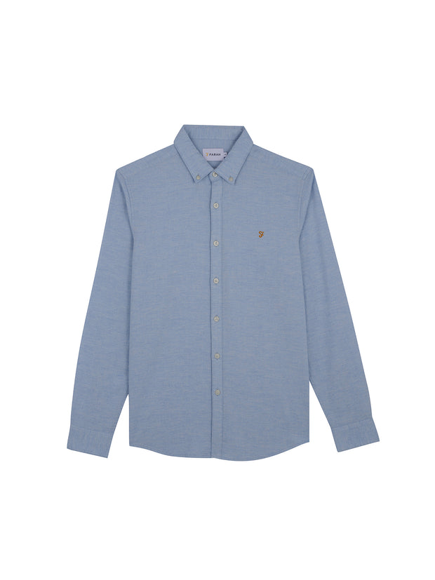 Kreo Slim Fit Brushed Cotton Shirt In Mooonstone