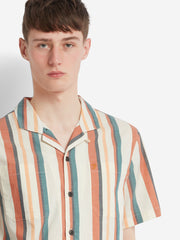 Bloomfield Casual Fit Short Sleeve Striped Shirt In Moroccan Orange