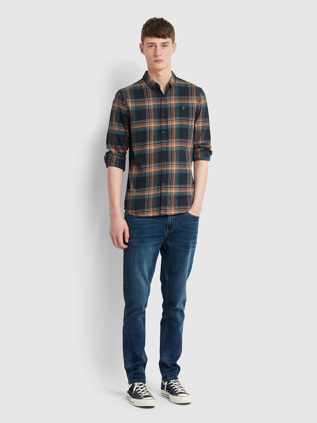 Butterfield Slim Fit Check Shirt In Bottle Green