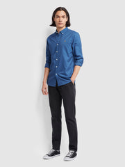 BREWER SLIM FIT OXFORD SHIRT IN DUSKY BLUE