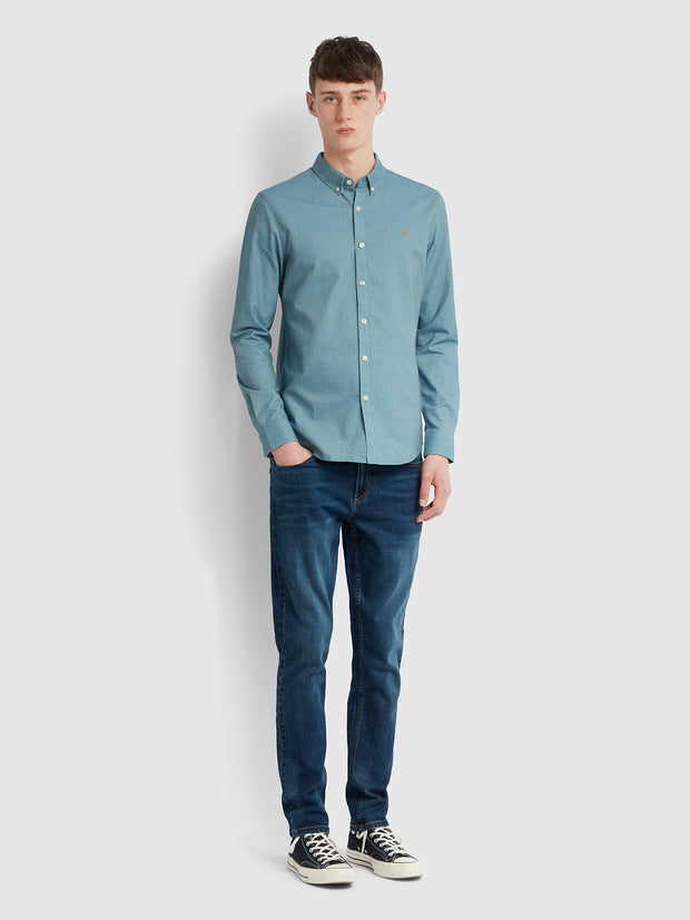 Brewer Slim Fit Oxford Shirt In Hudson Blue