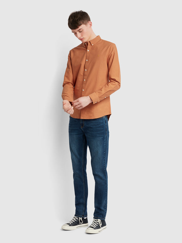 Brewer Slim Fit Oxford Shirt In Moroccan Orange
