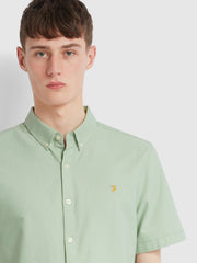 Brewer Slim Fit Short Sleeve Oxford Shirt In Green Haze