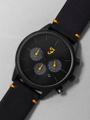 Farah Chrono Watch With Leather Strap In Deep Black