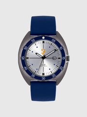 Farah Black Silicone Strap Watch In Regatta Blue