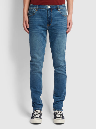 Drake Slim Fit Stretch Jeans In Worn Indigo