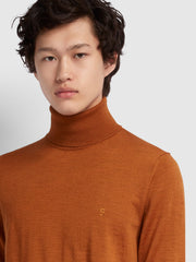 GOSFORTH MERINO WOOL ROLL NECK JUMPER IN GOLD MARL