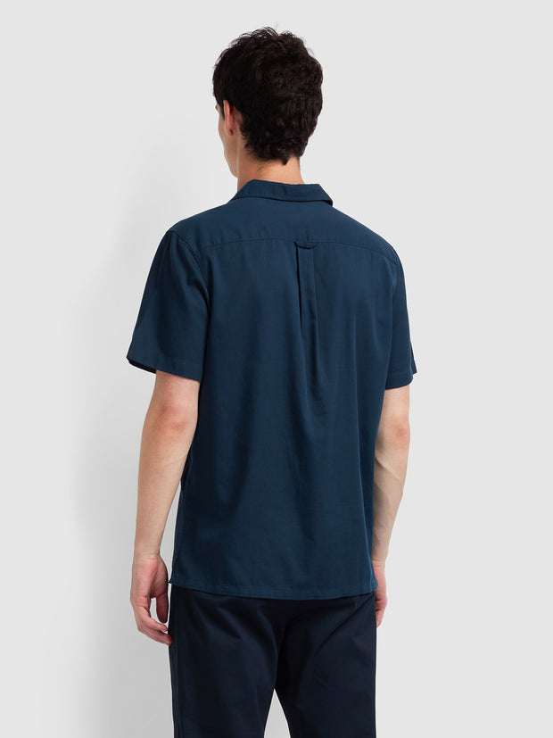 HOUSTON CASUAL FIT SHORT SLEEVE STRIPED SHIRT IN FARAH TEAL