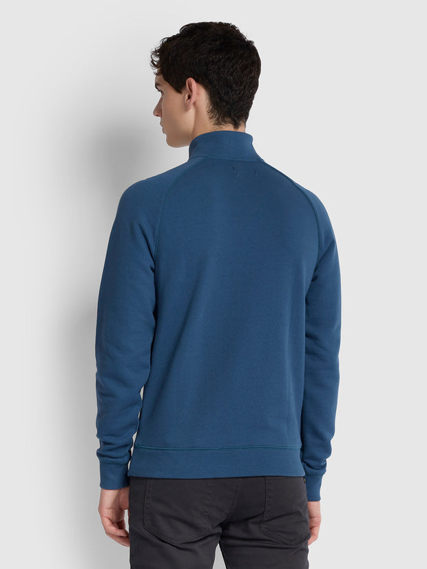 Jim Cotton Quarter Zip Sweatshirt In Cold Metal