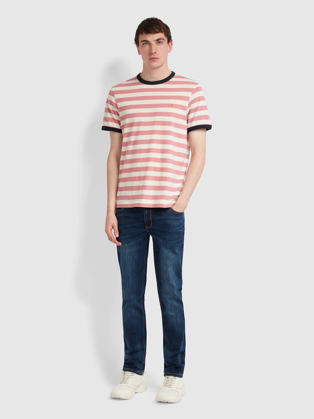 Belgrove Slim Fit Striped T-Shirt In Dusty Rose