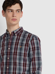 BREWER SLIM FIT TARTAN OXFORD SHIRT IN TAR