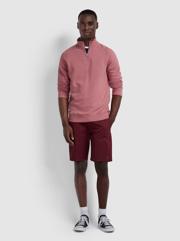 JIM COTTON QUARTER ZIP SWEATSHIRT IN DUSTY ROSE