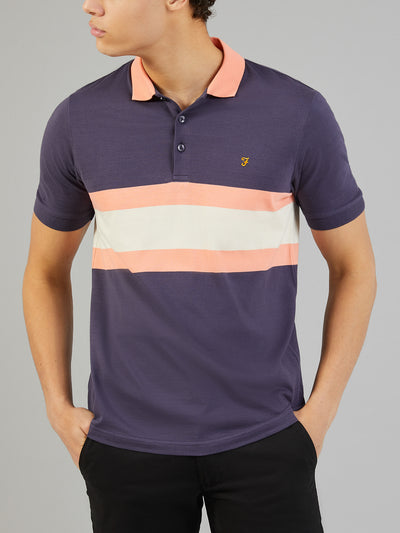 Rushton Striped Polo Shirt In Grape