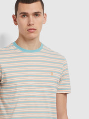 Alginet Slim Fit Striped Organic Cotton T-Shirt In Reef Green