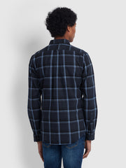Steen Slim Fit Brushed Cotton Check Shirt In True Navy