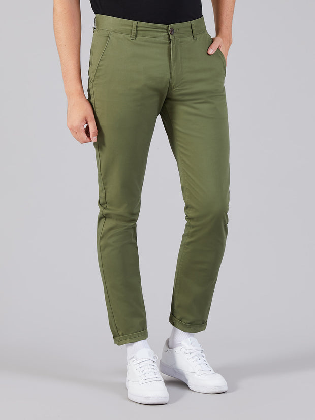 Elm Regular Fit Twill Chinos In Military Green