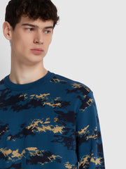 Beresford Cotton Camouflage Print Crew Neck Sweatshirt In Cold Metal