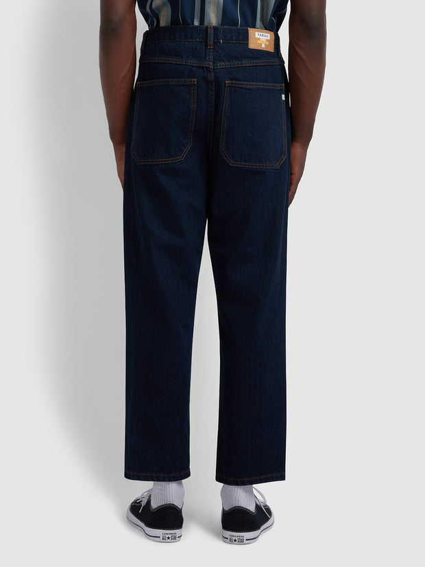 Hawtin Relaxed Fit Cropped Jeans In Rinse Denim