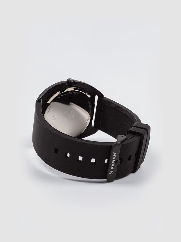 Farah Black Silicone Strap Watch In Deep Black