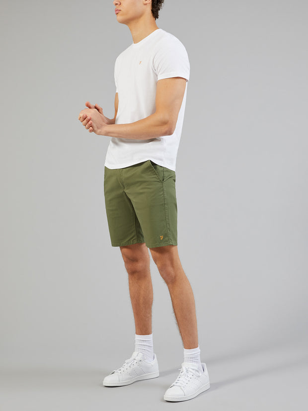 HAWK TWILL CHINO SHORTS IN MILITARY GREEN