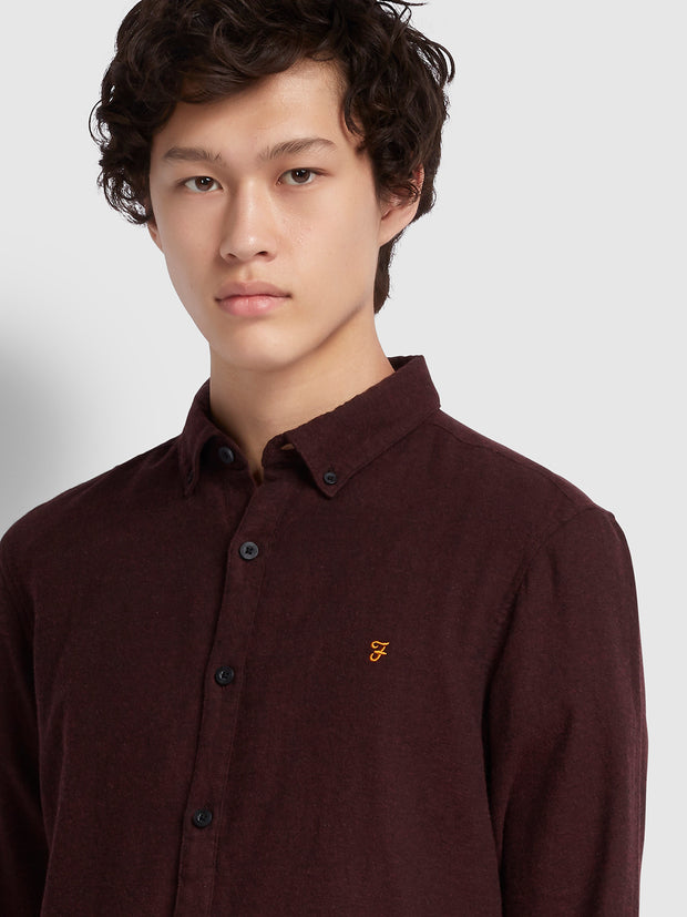 Kreo Slim Fit Brushed Cotton Shirt In Cognac