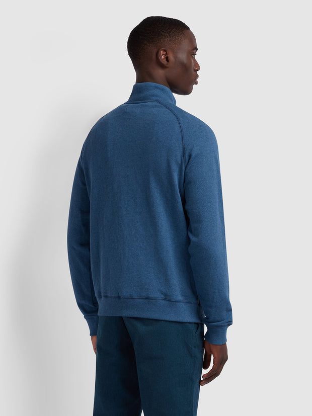 Jim Cotton Quarter Zip Sweatshirt In Dusky Blue Marl