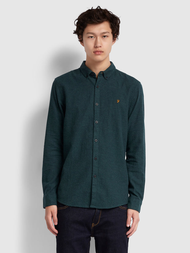 KREO SLIM FIT BRUSHED COTTON SHIRT IN BRIGHT EMERALD