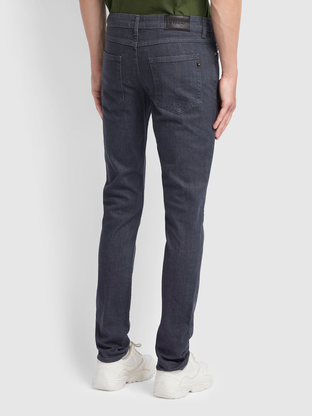 Drake Slim Fit Grey Stretch Jeans In Mid Grey