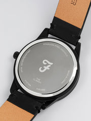 FARAH CLASSIC WATCH WITH LEATHER STRAP IN DEEP BLACK