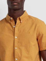 Brewer Slim Fit Short Sleeve Oxford Shirt In Pale Orange